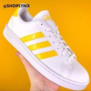 Adidas Yellow Grand Court White Sneaker Size 9